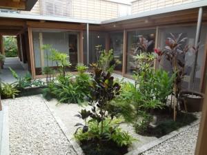中庭には緑やオブジェがあり、見る人の心を和ませます。