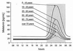 メラトニンの分泌時間と年齢による変化